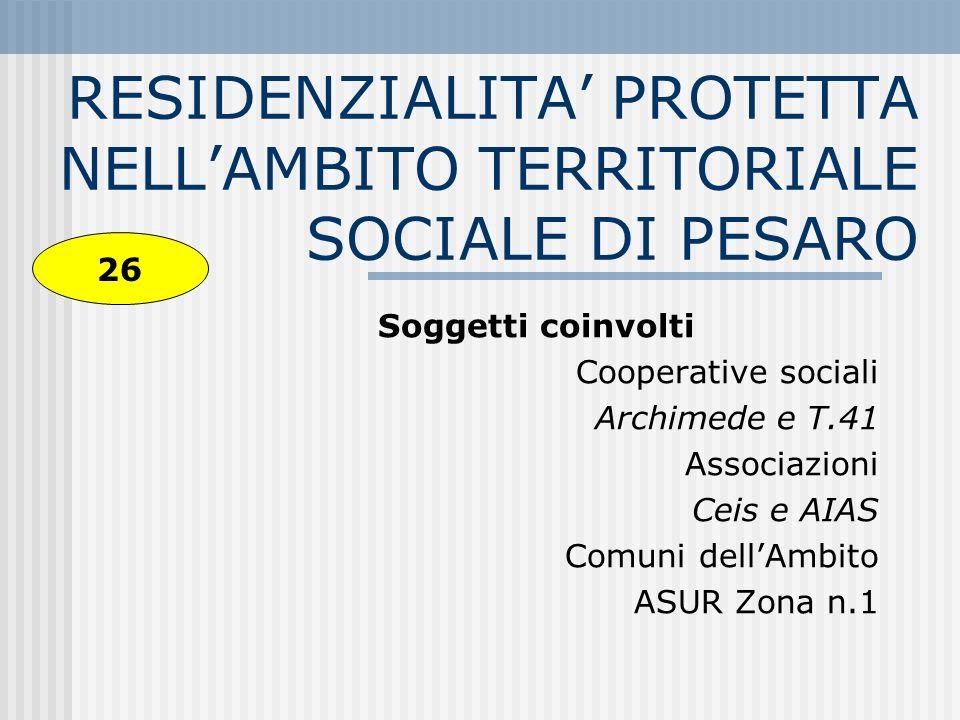 RESIDENZIALITA' PROTETTA NELL'AMBITO TERRITORIALE SOCIALE DI PESARO