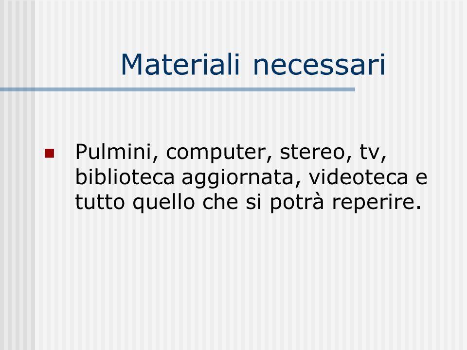 Materiali necessari Pulmini, computer, stereo, tv, biblioteca aggiornata, videoteca e tutto quello che si potrà reperire.