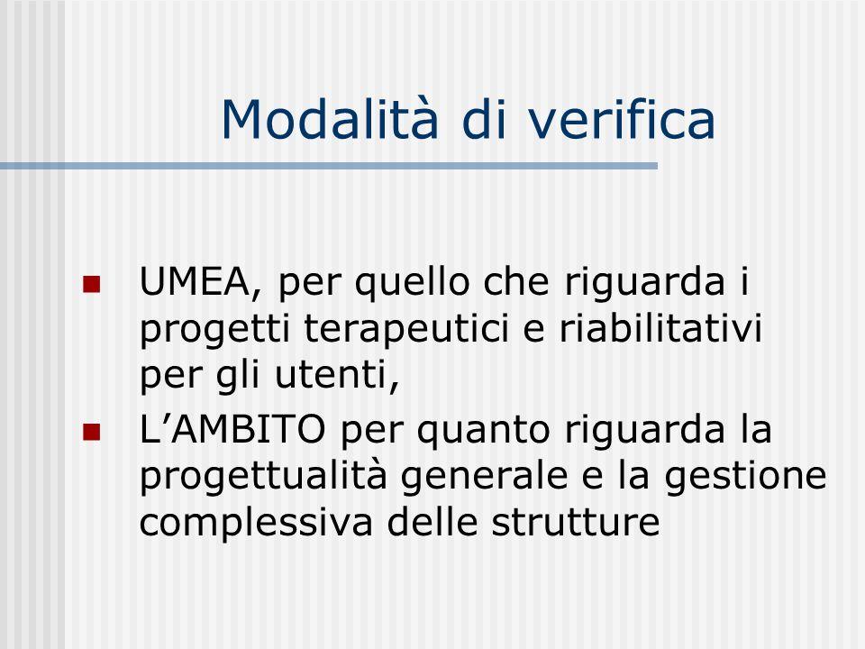 Modalità di verifica UMEA, per quello che riguarda i progetti terapeutici e riabilitativi per gli utenti,