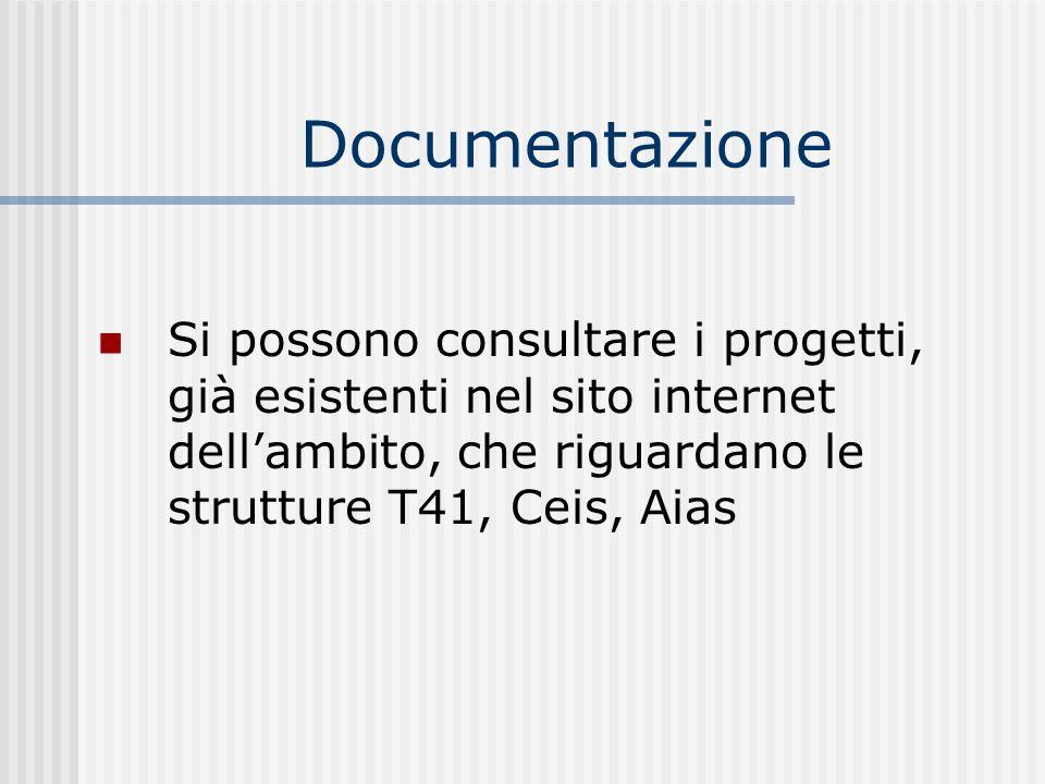 Documentazione Si possono consultare i progetti, già esistenti nel sito internet dell'ambito, che riguardano le strutture T41, Ceis, Aias.