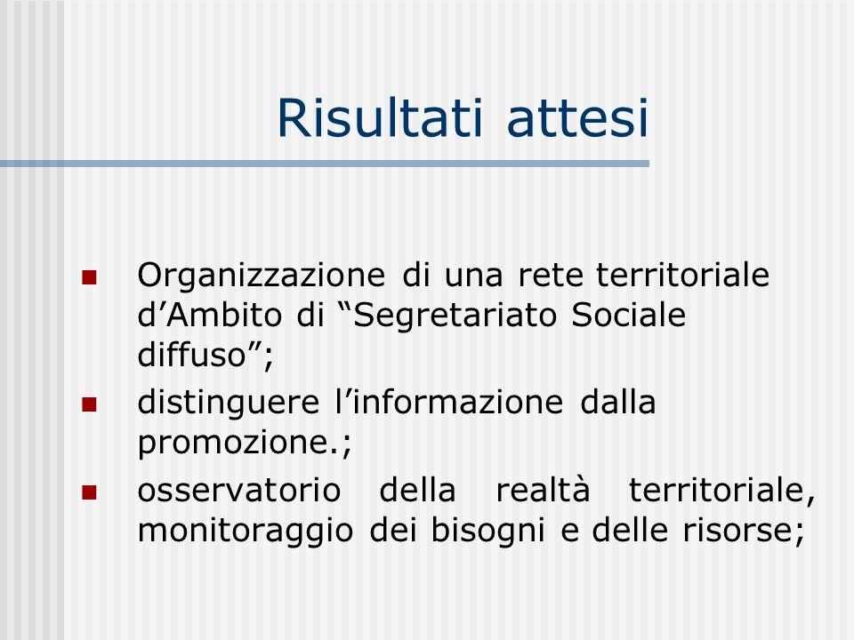 Risultati attesi Organizzazione di una rete territoriale d'Ambito di Segretariato Sociale diffuso ;