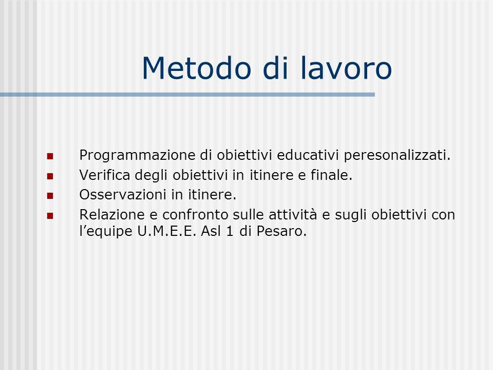 Metodo di lavoro Programmazione di obiettivi educativi peresonalizzati. Verifica degli obiettivi in itinere e finale.