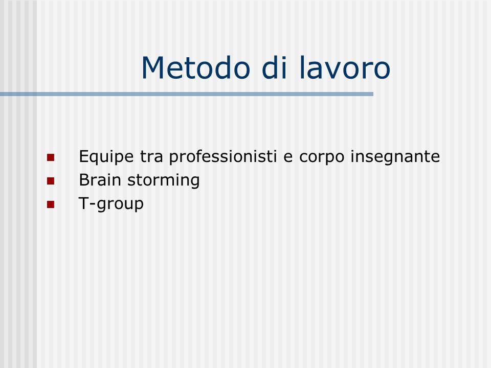 Metodo di lavoro Equipe tra professionisti e corpo insegnante