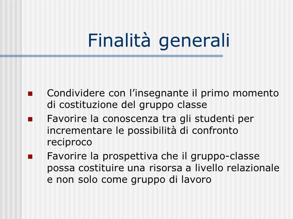 Finalità generali Condividere con l'insegnante il primo momento di costituzione del gruppo classe.