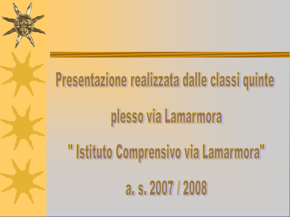 Presentazione realizzata dalle classi quinte plesso via Lamarmora