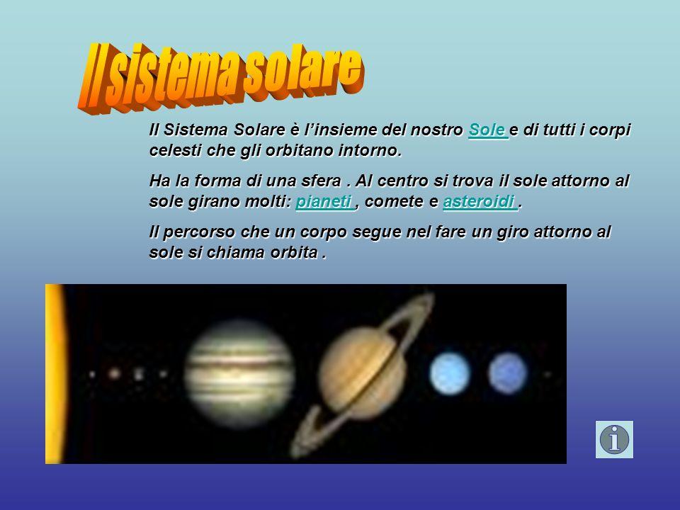 Il sistema solare Il Sistema Solare è l'insieme del nostro Sole e di tutti i corpi celesti che gli orbitano intorno.