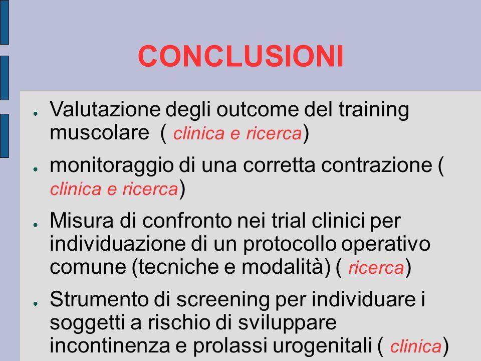 CONCLUSIONI Valutazione degli outcome del training muscolare ( clinica e ricerca) monitoraggio di una corretta contrazione ( clinica e ricerca)