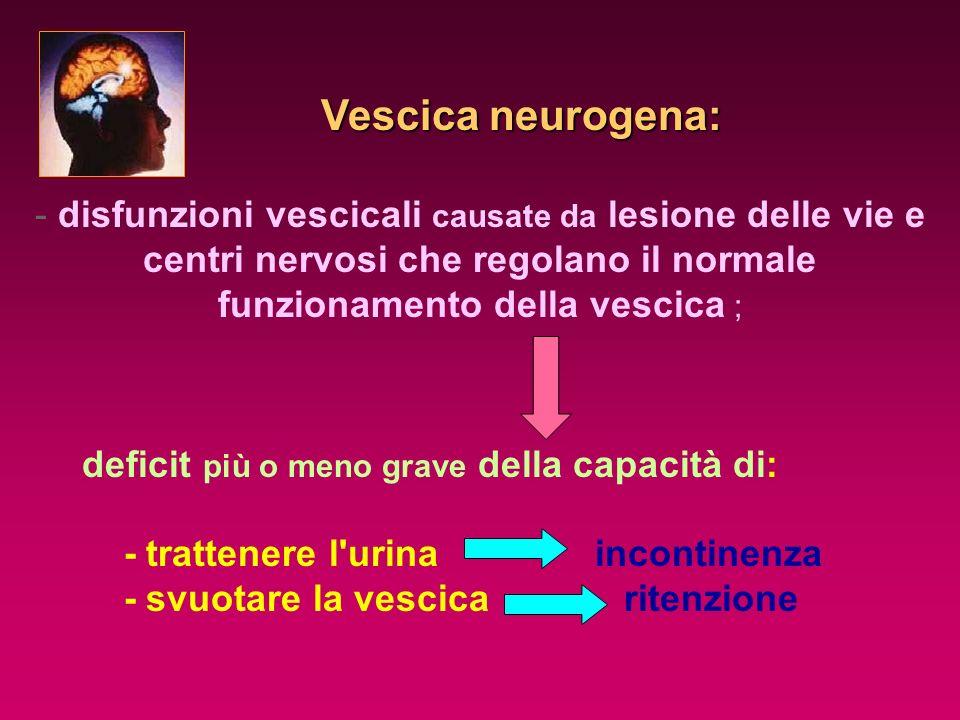 Vescica neurogena: disfunzioni vescicali causate da lesione delle vie e centri nervosi che regolano il normale funzionamento della vescica ;