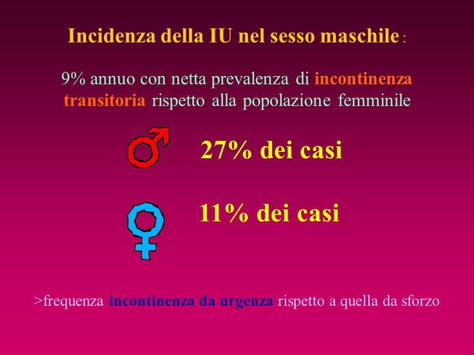11% dei casi Incidenza della IU nel sesso maschile :