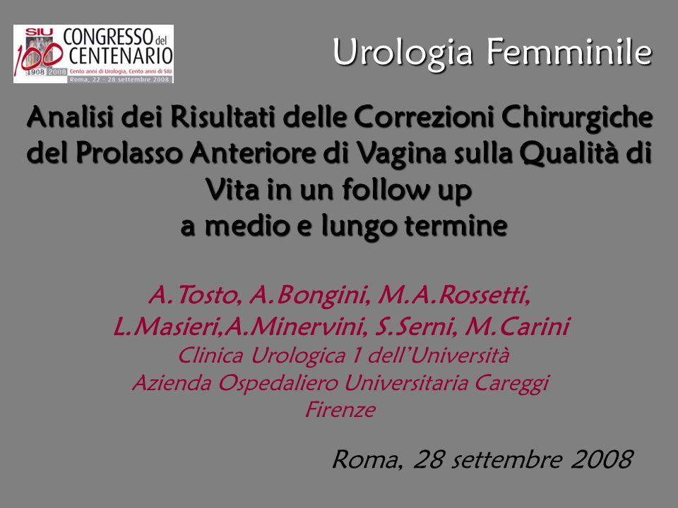 Urologia Femminile Analisi dei Risultati delle Correzioni Chirurgiche del Prolasso Anteriore di Vagina sulla Qualità di Vita in un follow up.
