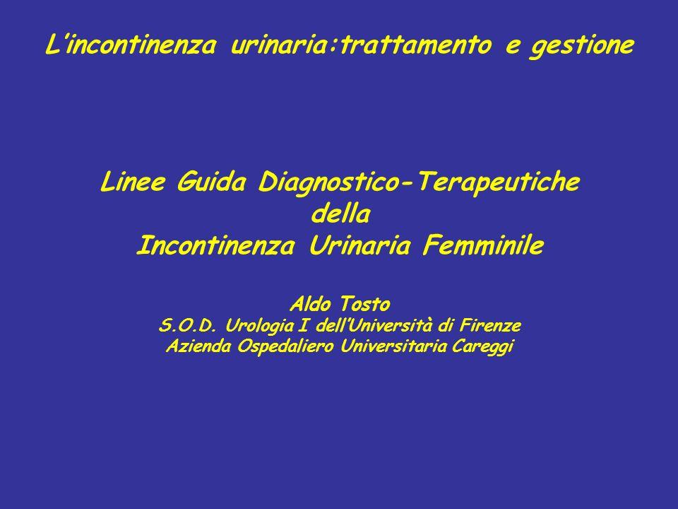 L'incontinenza urinaria:trattamento e gestione