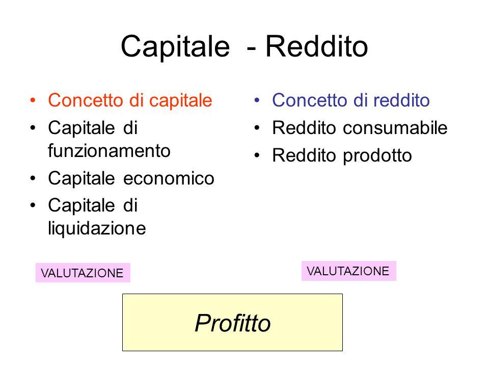 Capitale - Reddito Profitto Concetto di capitale
