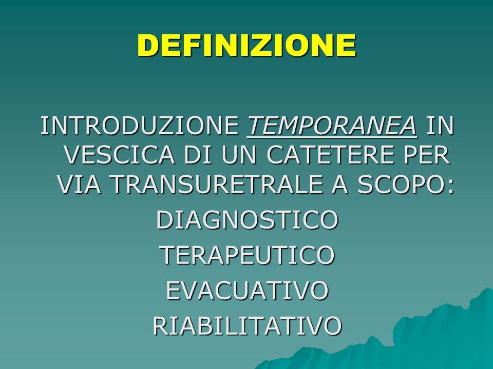 DEFINIZIONE INTRODUZIONE TEMPORANEA IN VESCICA DI UN CATETERE PER VIA TRANSURETRALE A SCOPO: DIAGNOSTICO.
