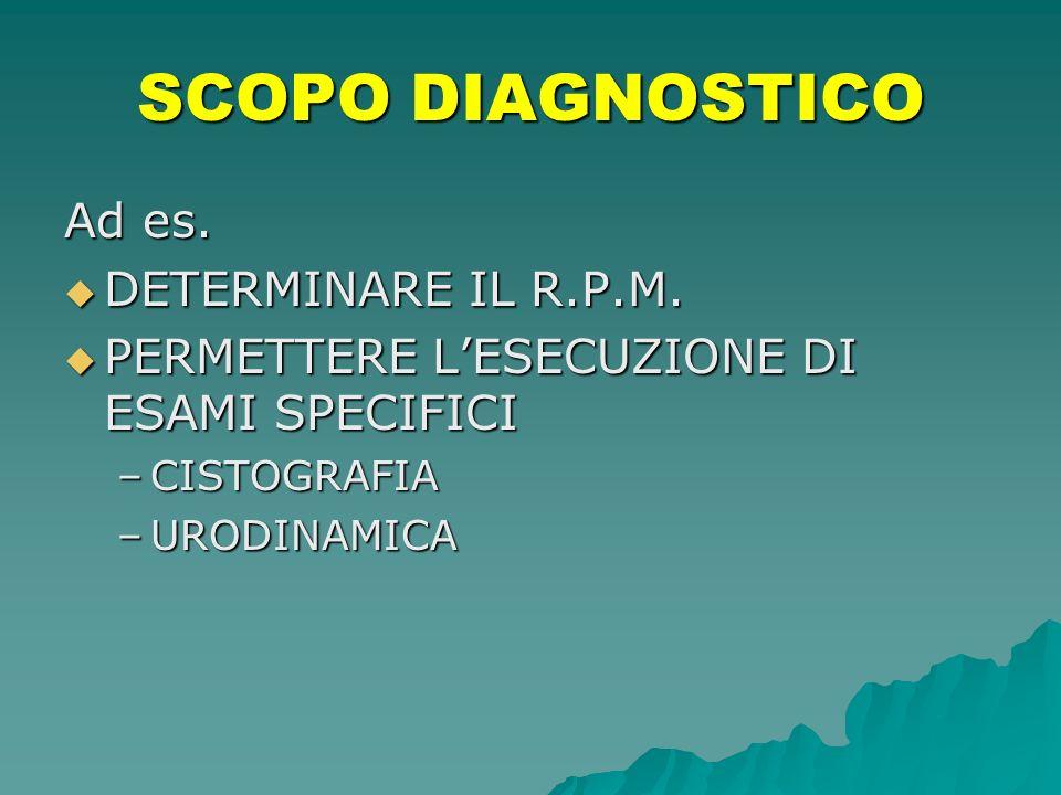 SCOPO DIAGNOSTICO Ad es. DETERMINARE IL R.P.M.