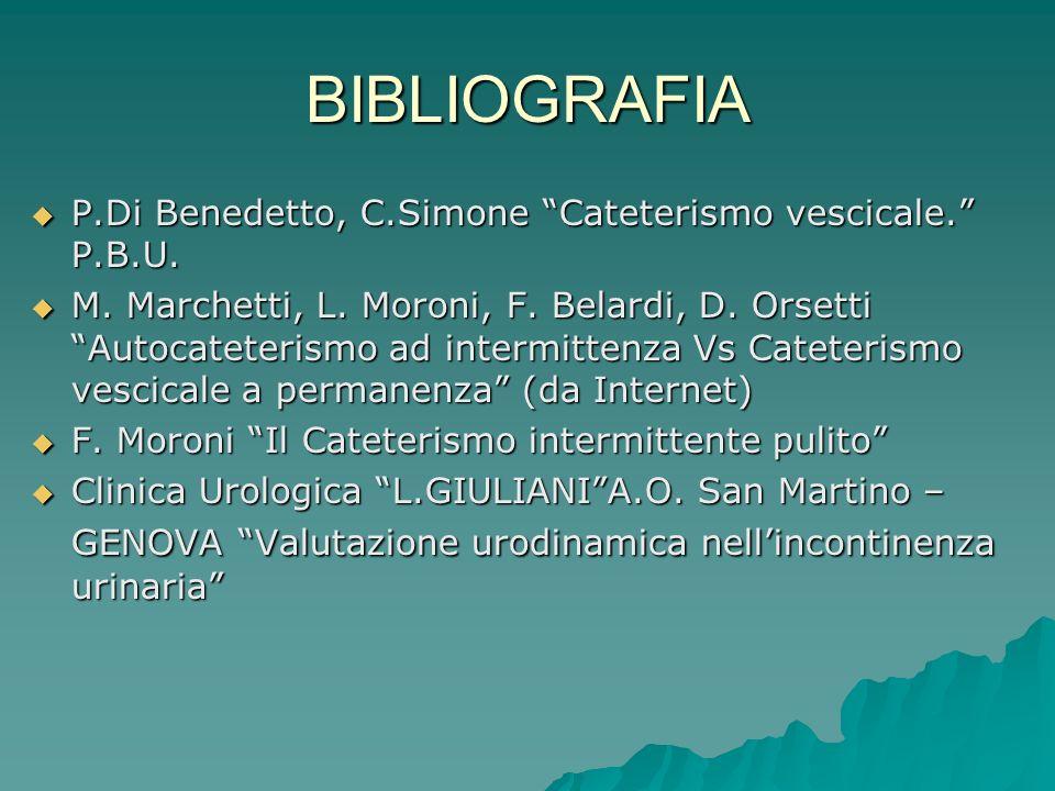 BIBLIOGRAFIA P.Di Benedetto, C.Simone Cateterismo vescicale. P.B.U.
