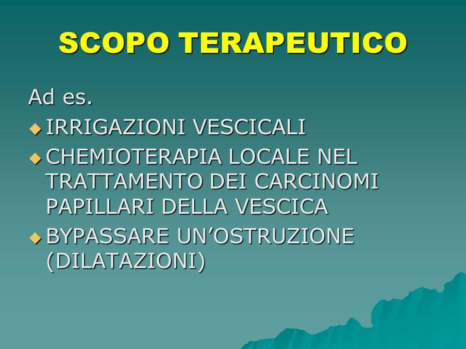 SCOPO TERAPEUTICO Ad es. IRRIGAZIONI VESCICALI