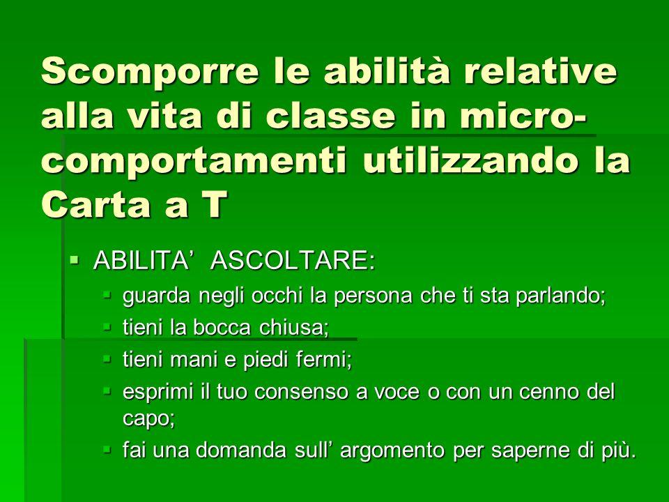 Scomporre le abilità relative alla vita di classe in micro-comportamenti utilizzando la Carta a T
