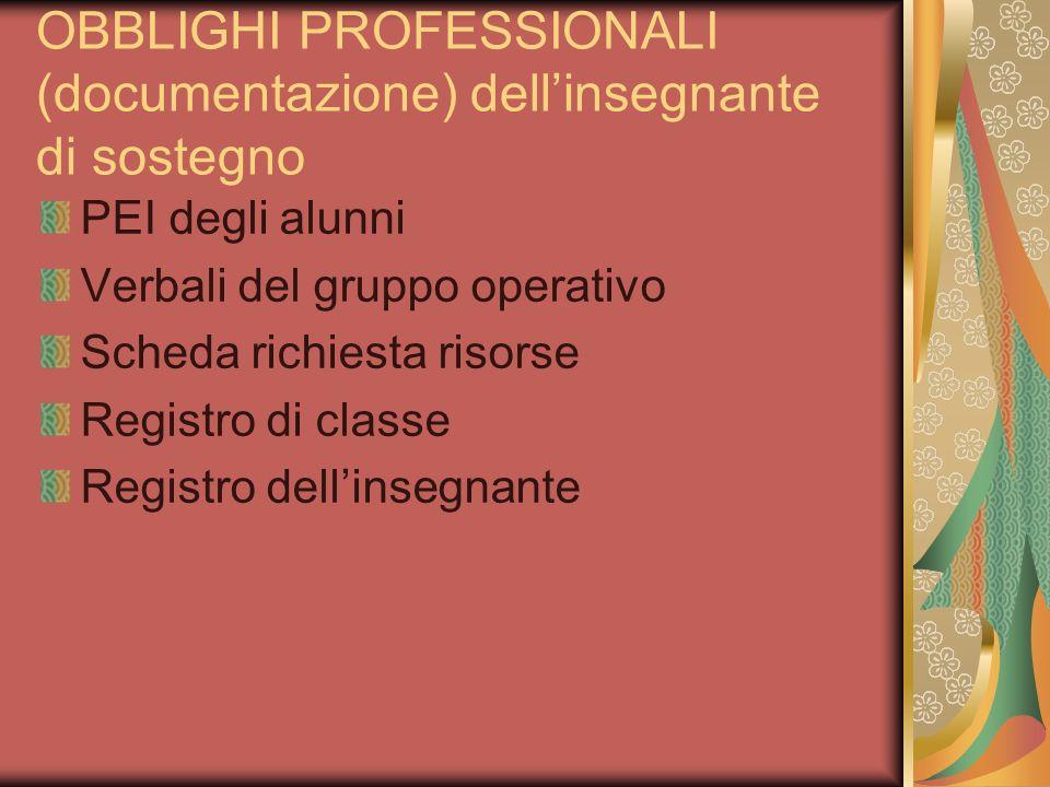 OBBLIGHI PROFESSIONALI (documentazione) dell'insegnante di sostegno