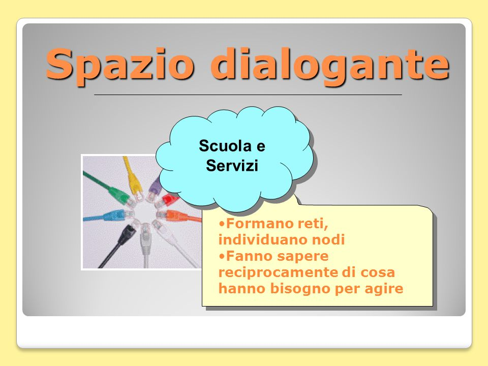 Spazio dialogante Scuola e Servizi Formano reti, individuano nodi