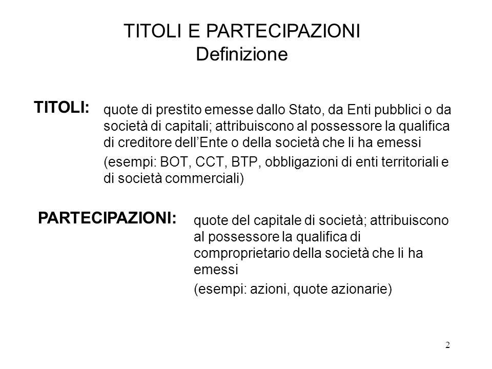 TITOLI E PARTECIPAZIONI Definizione
