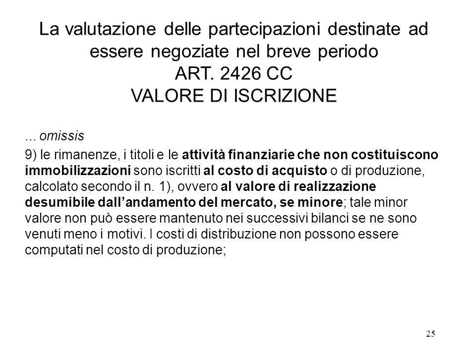 La valutazione delle partecipazioni destinate ad essere negoziate nel breve periodo ART. 2426 CC VALORE DI ISCRIZIONE