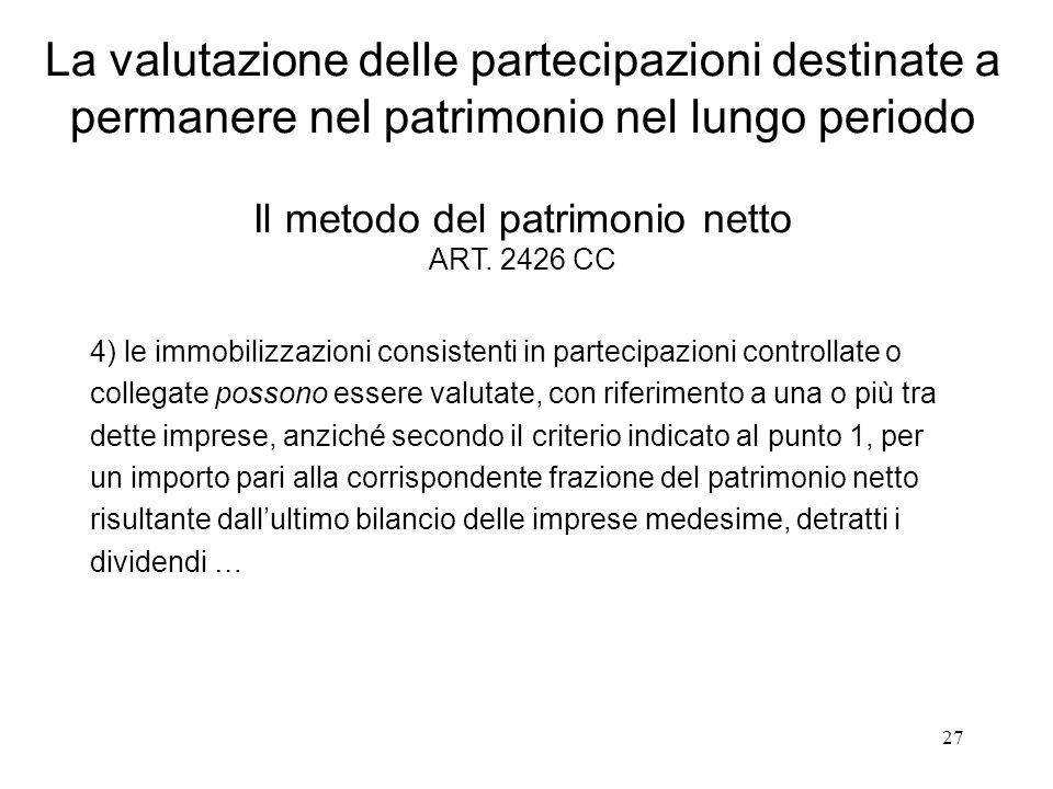 La valutazione delle partecipazioni destinate a permanere nel patrimonio nel lungo periodo Il metodo del patrimonio netto ART. 2426 CC