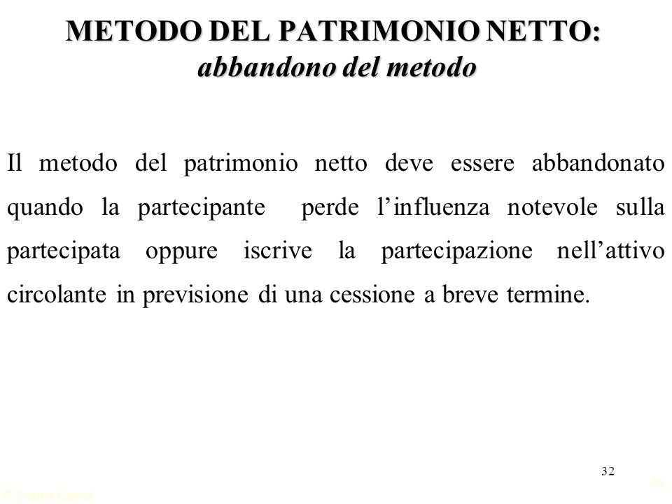 METODO DEL PATRIMONIO NETTO: abbandono del metodo