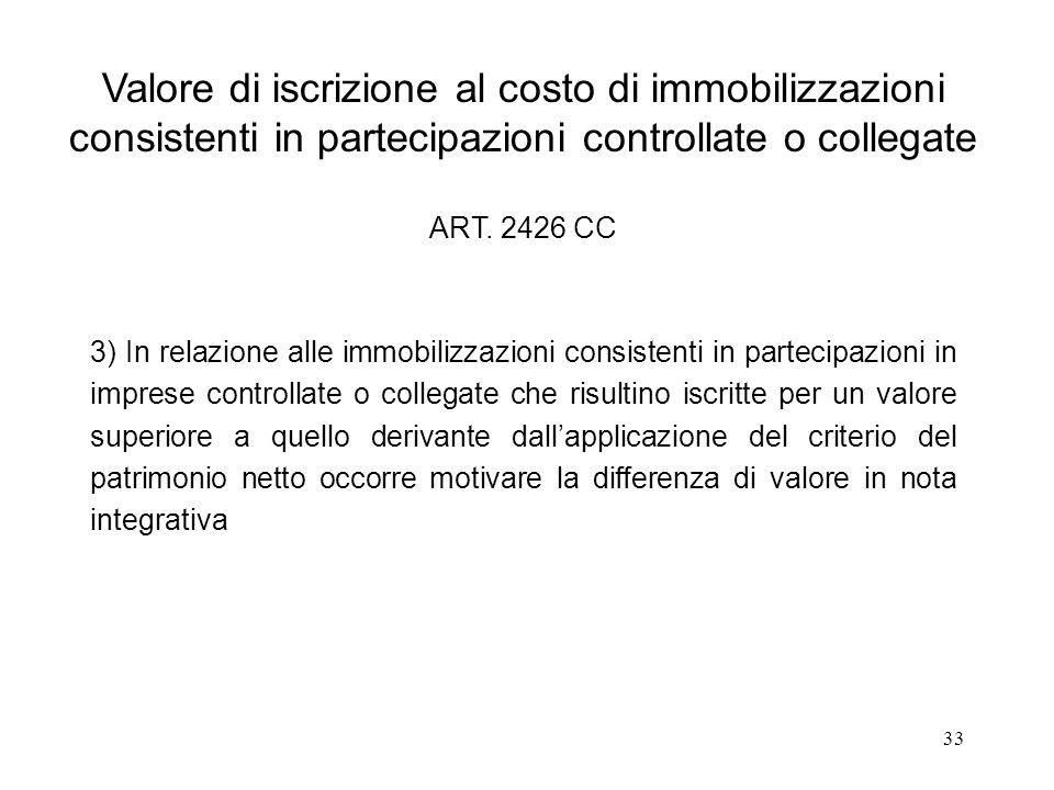 Valore di iscrizione al costo di immobilizzazioni consistenti in partecipazioni controllate o collegate ART. 2426 CC