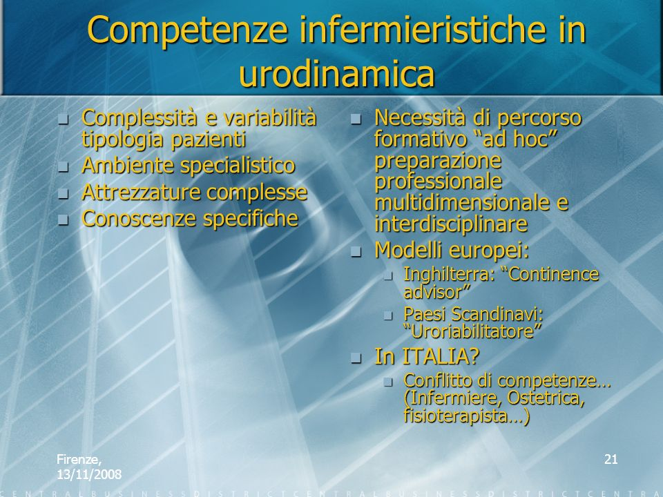 Competenze infermieristiche in urodinamica