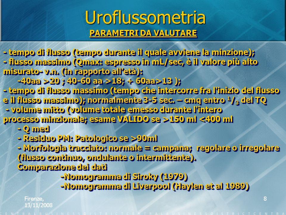 Uroflussometria PARAMETRI DA VALUTARE