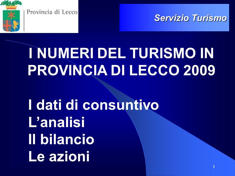 I NUMERI DEL TURISMO IN PROVINCIA DI LECCO 2009