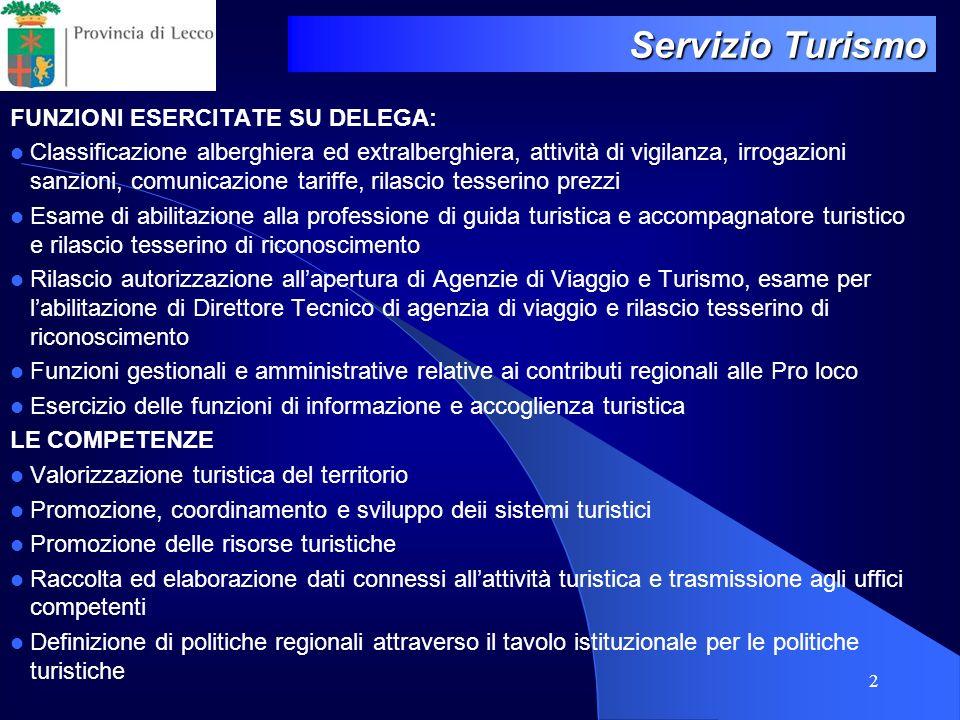 Servizio Turismo FUNZIONI ESERCITATE SU DELEGA: