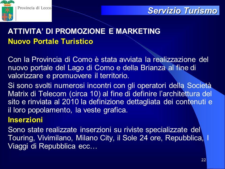 ATTIVITA' DI PROMOZIONE E MARKETING Nuovo Portale Turistico