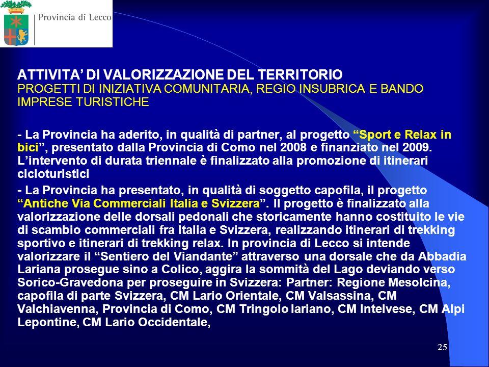 ATTIVITA' DI VALORIZZAZIONE DEL TERRITORIO PROGETTI DI INIZIATIVA COMUNITARIA, REGIO INSUBRICA E BANDO IMPRESE TURISTICHE