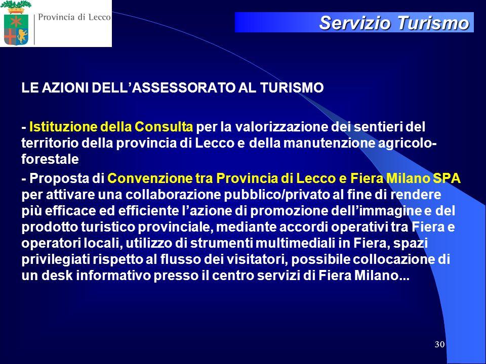 Servizio Turismo LE AZIONI DELL'ASSESSORATO AL TURISMO