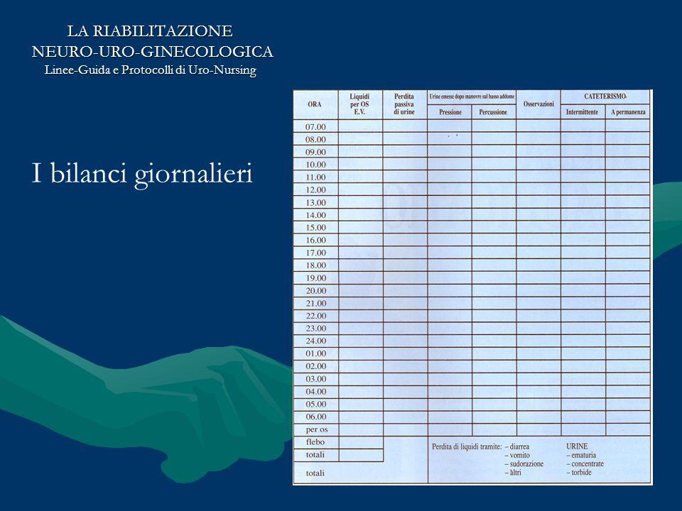 I bilanci giornalieri LA RIABILITAZIONE NEURO-URO-GINECOLOGICA