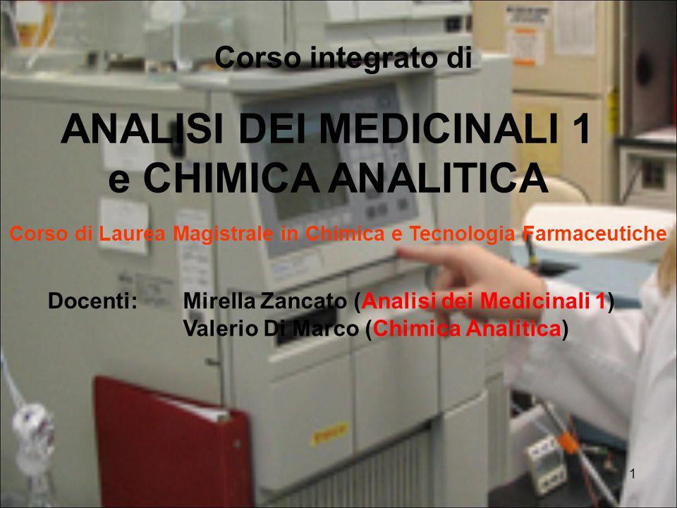 ANALISI DEI MEDICINALI 1 e CHIMICA ANALITICA
