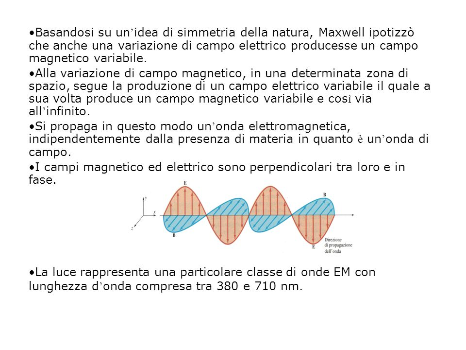 Basandosi su un'idea di simmetria della natura, Maxwell ipotizzò che anche una variazione di campo elettrico producesse un campo magnetico variabile.