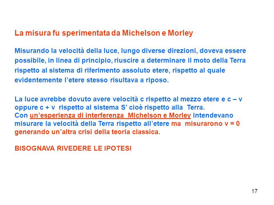 La misura fu sperimentata da Michelson e Morley
