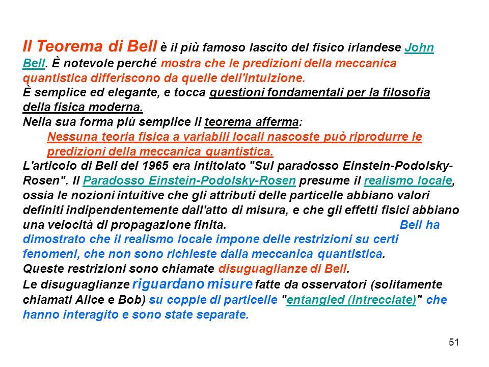 Il Teorema di Bell è il più famoso lascito del fisico irlandese John Bell. È notevole perché mostra che le predizioni della meccanica quantistica differiscono da quelle dell intuizione. È semplice ed elegante, e tocca questioni fondamentali per la filosofia della fisica moderna.