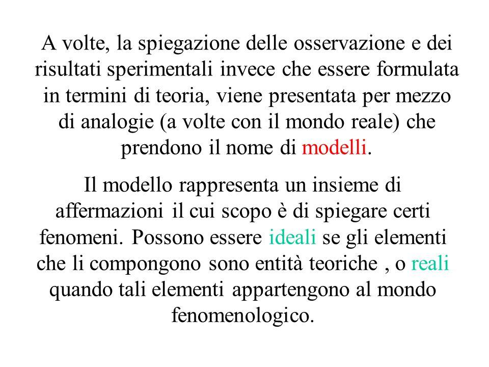 A volte, la spiegazione delle osservazione e dei risultati sperimentali invece che essere formulata in termini di teoria, viene presentata per mezzo di analogie (a volte con il mondo reale) che prendono il nome di modelli.