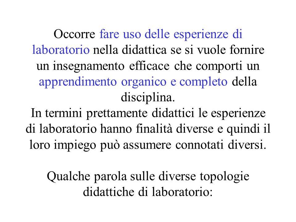 Occorre fare uso delle esperienze di laboratorio nella didattica se si vuole fornire un insegnamento efficace che comporti un apprendimento organico e completo della disciplina.