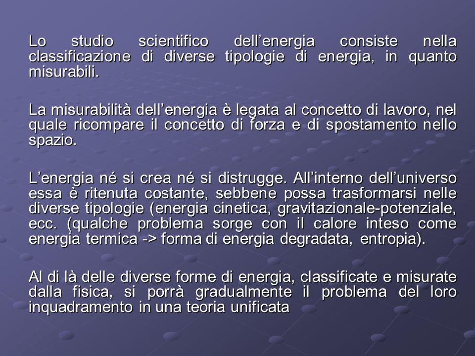Lo studio scientifico dell'energia consiste nella classificazione di diverse tipologie di energia, in quanto misurabili.