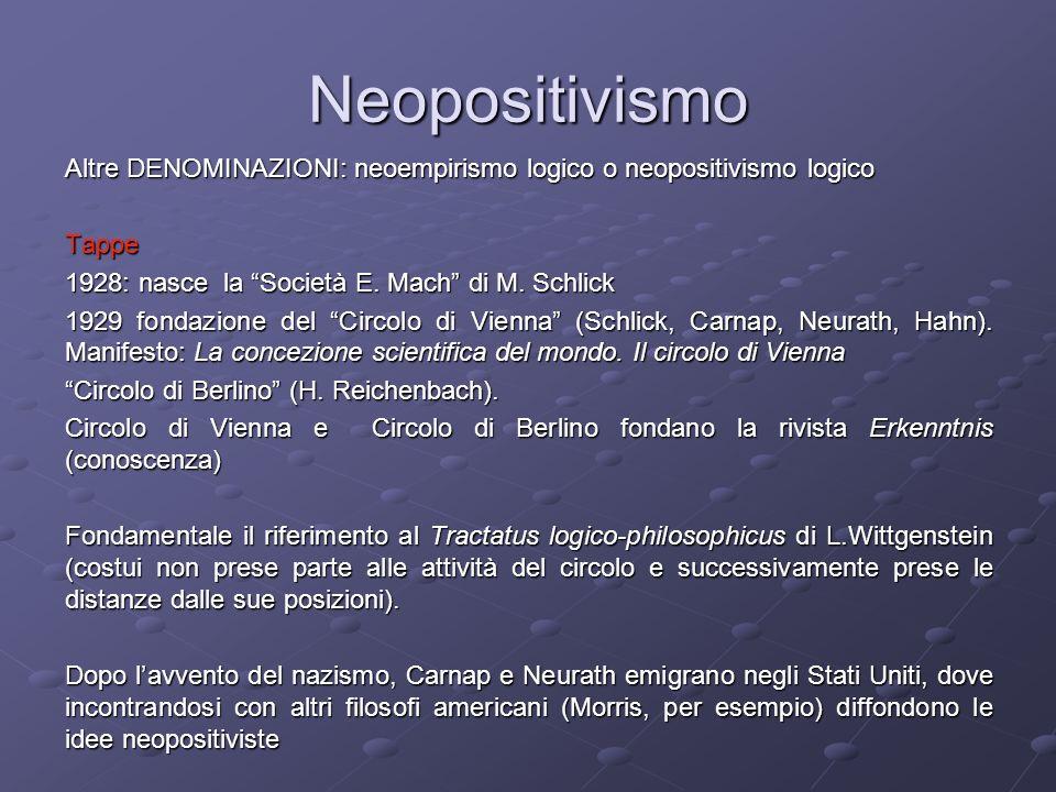 Neopositivismo Altre DENOMINAZIONI: neoempirismo logico o neopositivismo logico. Tappe. 1928: nasce la Società E. Mach di M. Schlick.