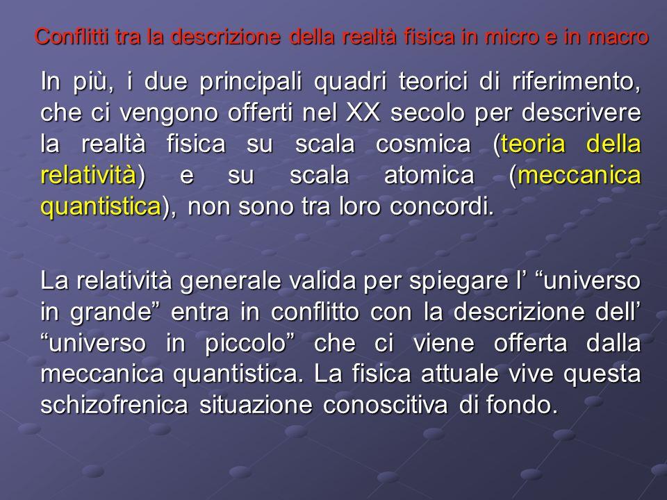 Conflitti tra la descrizione della realtà fisica in micro e in macro