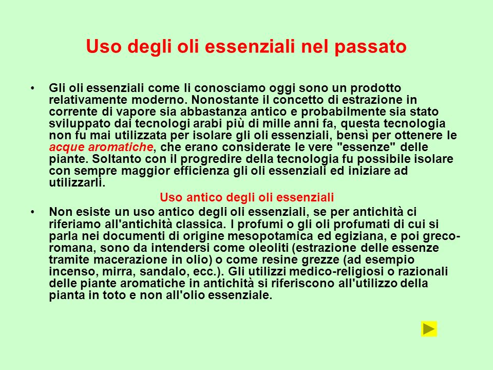 Uso degli oli essenziali nel passato