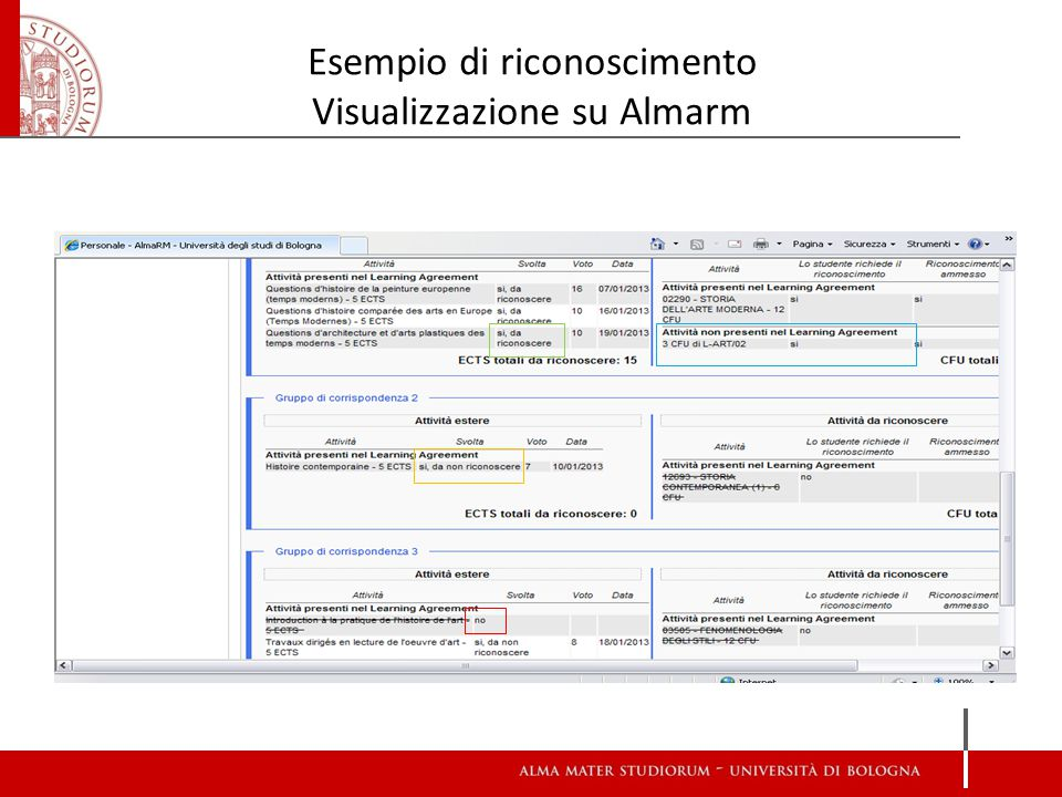 Esempio di riconoscimento Visualizzazione su Almarm