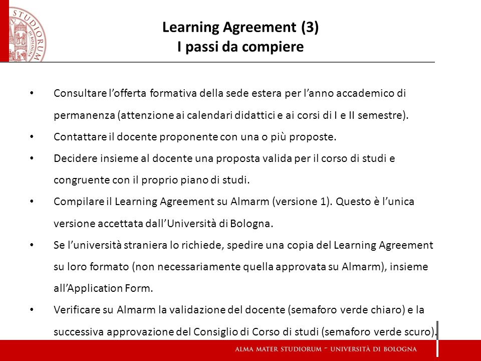 Learning Agreement (3) I passi da compiere