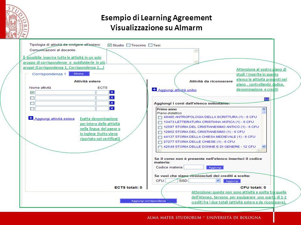 Esempio di Learning Agreement Visualizzazione su Almarm