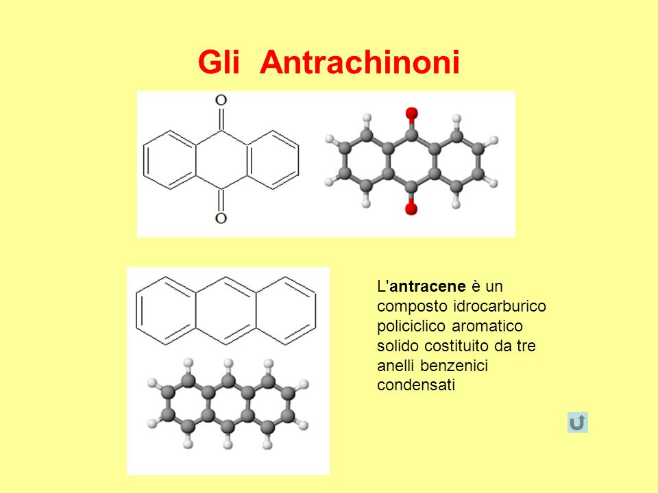 Gli Antrachinoni L antracene è un composto idrocarburico policiclico aromatico solido costituito da tre anelli benzenici condensati.